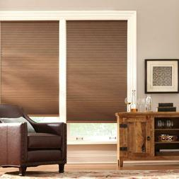 PRE CUT Home Decorators Mocha 9/16 in. Blackout Cordless Cel